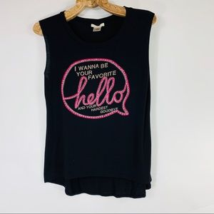 Black Muscle Graphic T Shirt Black Hot Pink Small
